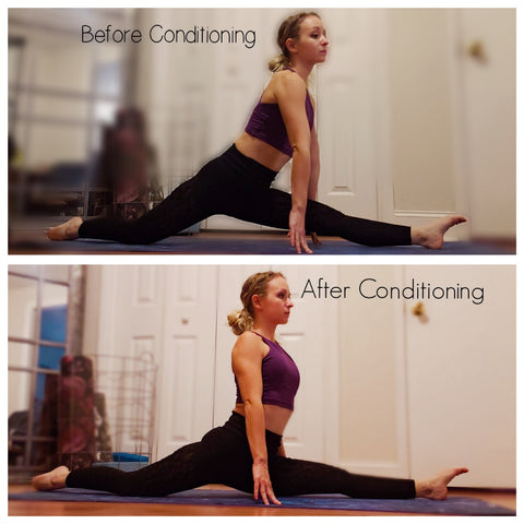 Girl showing us her Splits Before and After Conditioning