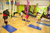 Aerial Yoga Class Studio Set Up Green and Pink Yoga Hammock