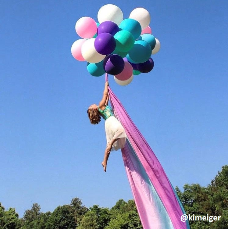 Ombre Rainbow Aerial Silks Hanging from Balloons