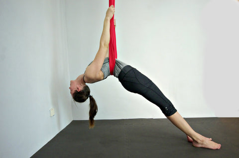 Elaine in Red Yoga Hammock Beginner Backbend
