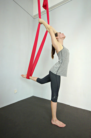 Elaine on Red Yoga Hammock Standing Backbend
