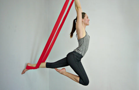 Elaine on Red Yoga Hammock Aerial Passe