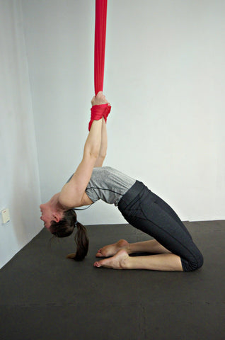 Elaine on Red Yoga Hammock Hero Backbend