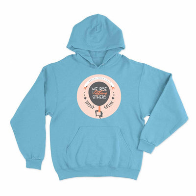 We Rise by Lifting Others Aerial Yoga Hoodie Pullover Light Blue - Uplift Active Aerial Yoga Aerial Silks Apparel