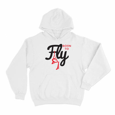 White Born to Fly Aerial Yoga Hoodie Pullover - Uplift Active Aerial Silks Apparel