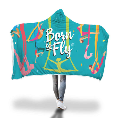 Blue Born to Fly Sherpa Hoodie Blanket - Uplift Active