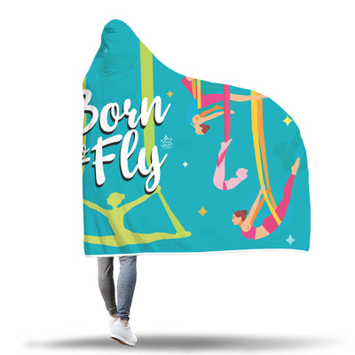 Blue Born to Fly Sherpa Hoodie Blanket -Uplift Active