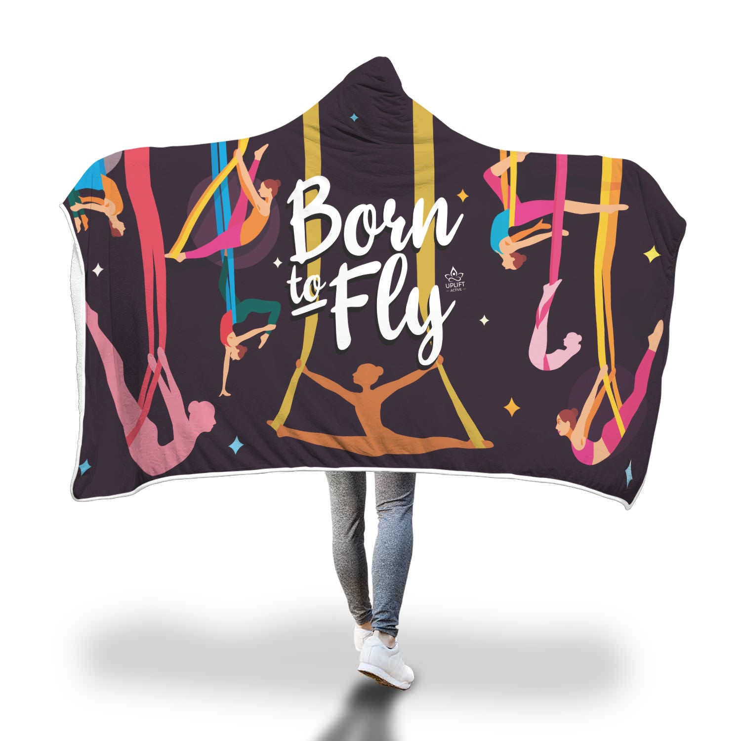 Black Born to Fly Sherpa Hoodie Blanket - Uplift Active