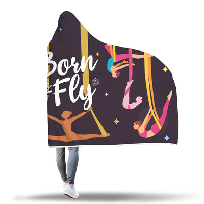 Black Born to Fly Sherpa Hoodie Blanket -Uplift Active