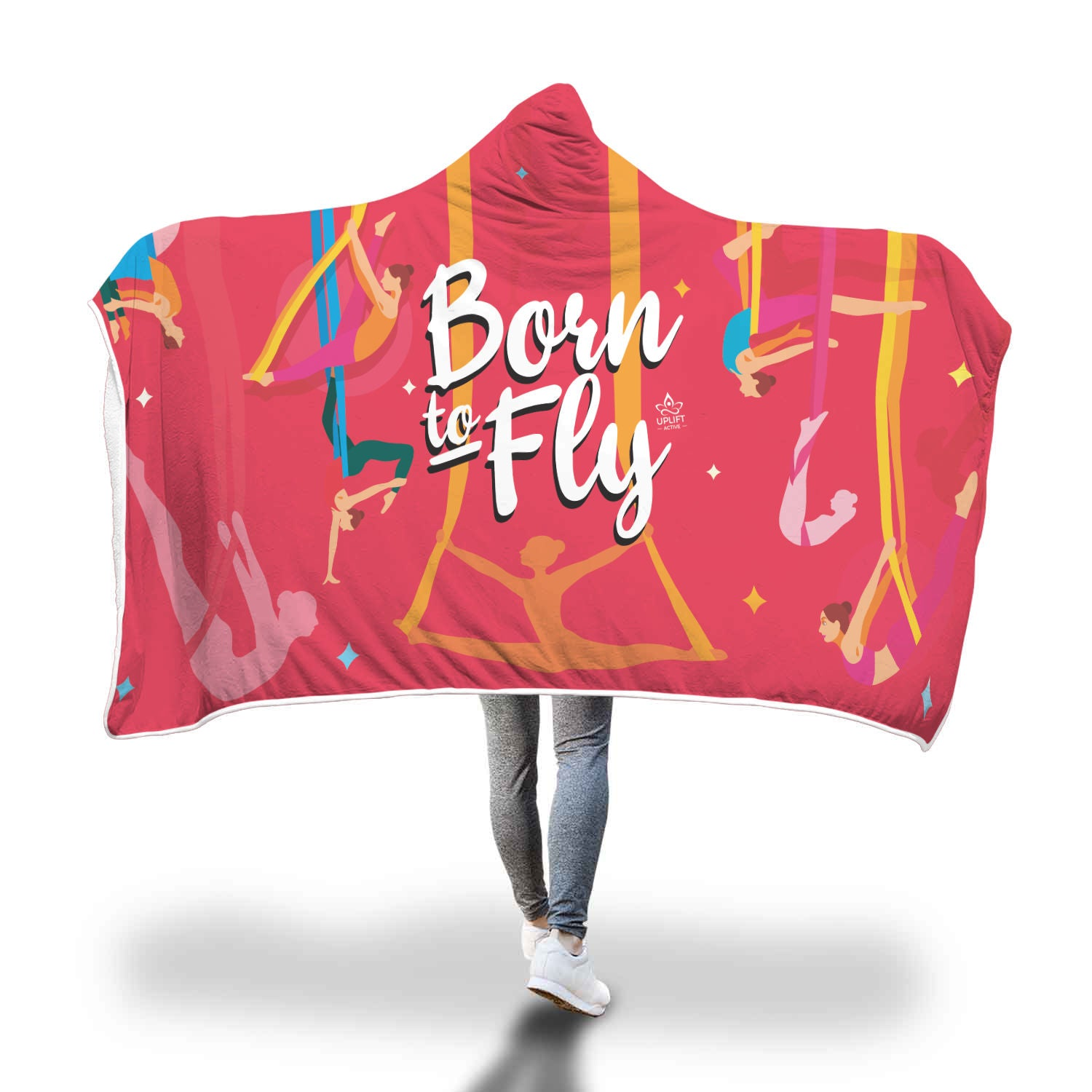 Pink Born to Fly Sherpa Hoodie Blanket