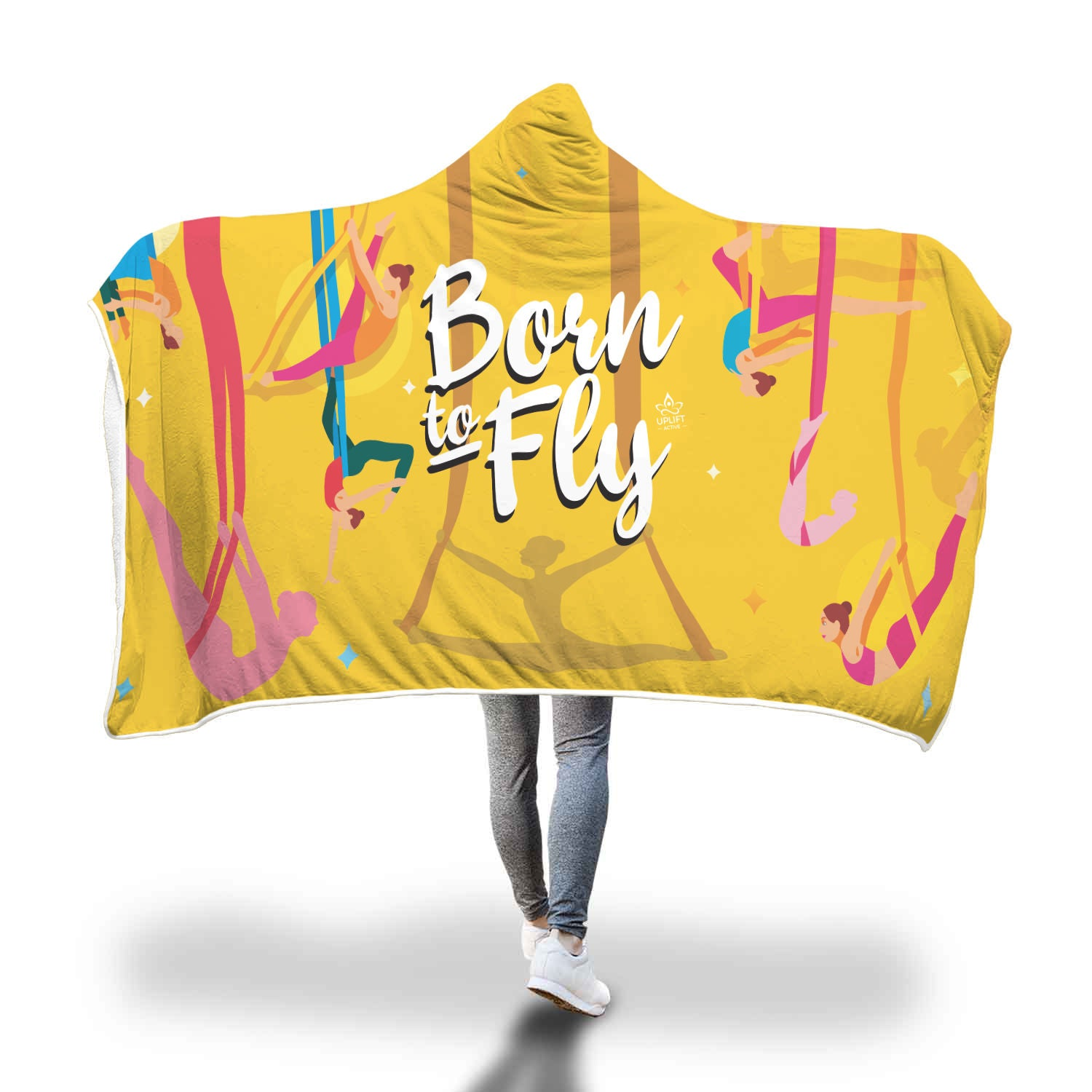 Yellow Born to Fly Sherpa Hoodie Blanket