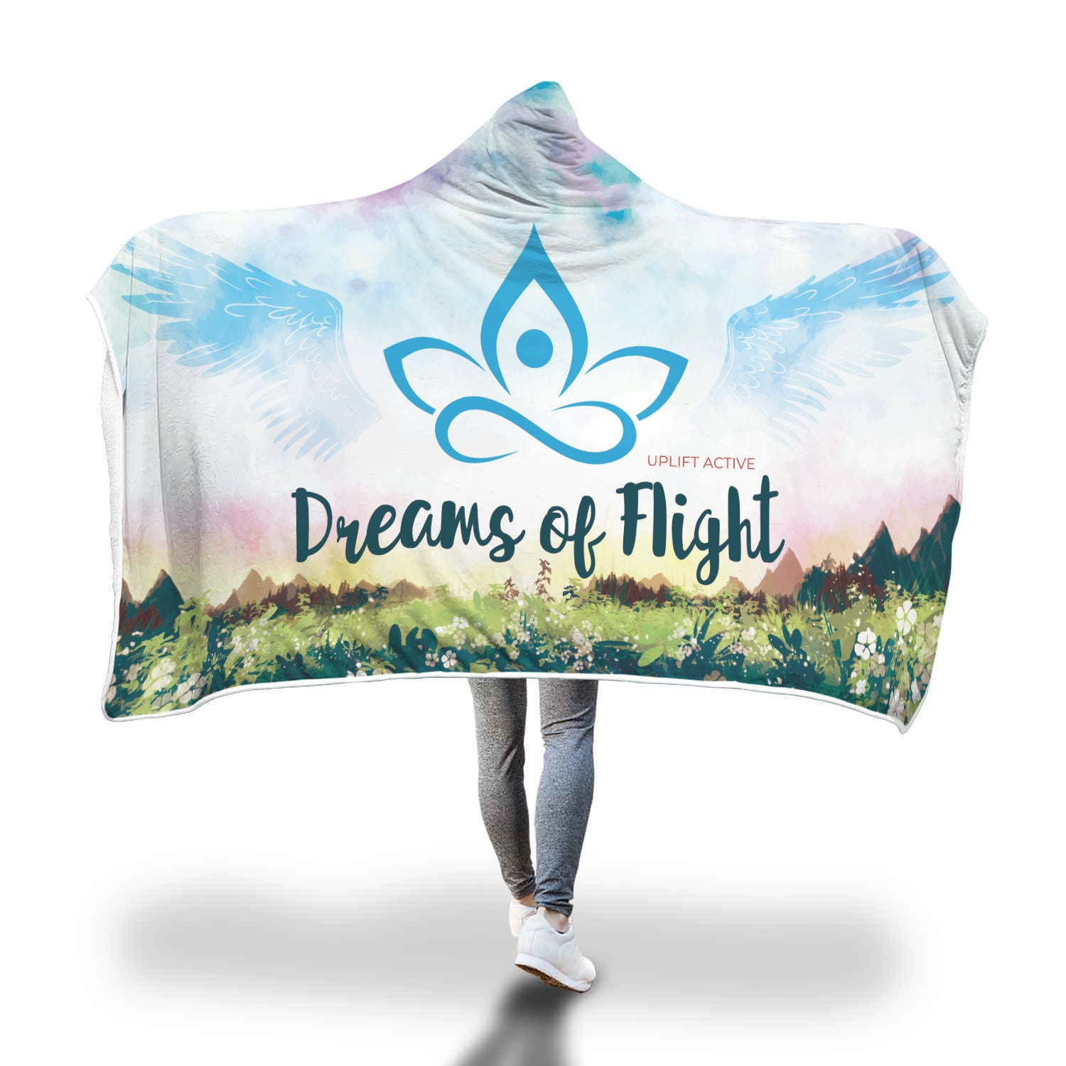 Blue Dreams of Flight Sherpa Hoodie Blanket - Uplift Active