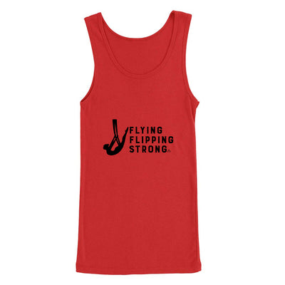 Red Flying Flipping Strong Print in Black Aerial Silks Tank Top- Uplift Active