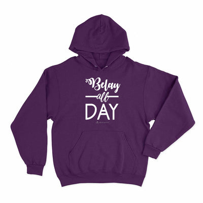 Purple Belay All Day Print in White Aerial Silks Hoodie - Uplift Active