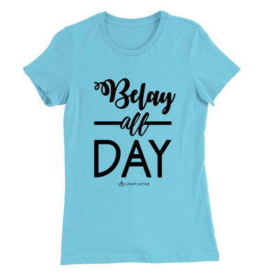 Light Blue Belay All Day Print in Black Aerial Silks Tee - Uplift Active