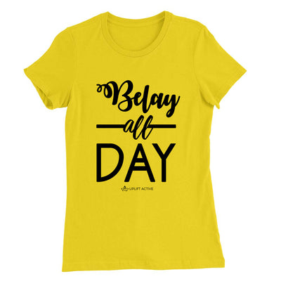 Yellow Belay All Day Print in Black Aerial Silks Tee - Uplift Active