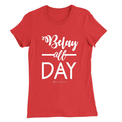 Red Belay All Day Print in White Aerial Silks Tee - Uplift Active