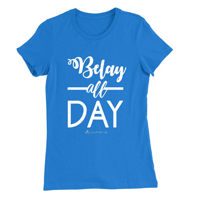 Royal Belay All Day Print in White Aerial Silks Tee - Uplift Active