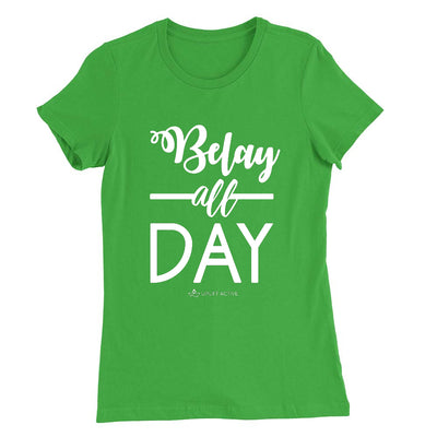 Irish Green Belay All Day Print in White Aerial Silks Tee - Uplift Active