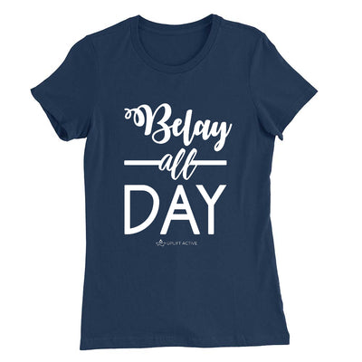 Navy Belay All Day Print in White Aerial Silks Tee - Uplift Active