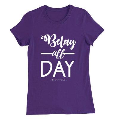 Purple Belay All Day Print in White Aerial Silks Tee - Uplift Active