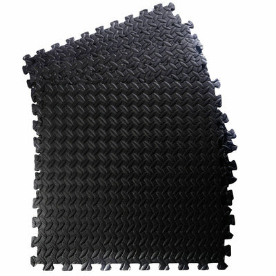 Black EVA Foam Floor Interlocking Mat 12 Pcs Uplift Active