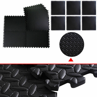 Black EVA Foam Floor Interlocking Mat - 48 Sq Ft Detail Uplift Active