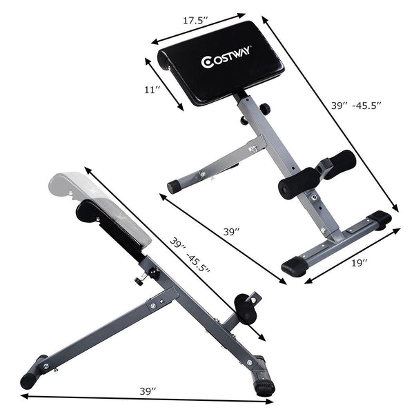 Adjustable Hyper extension Abdominal Exercise Back Bench Dimension