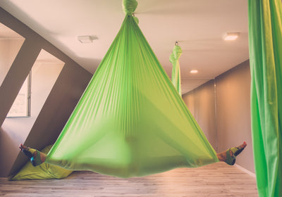 Green Aerial Yoga Hammock on Studio Uplift Active