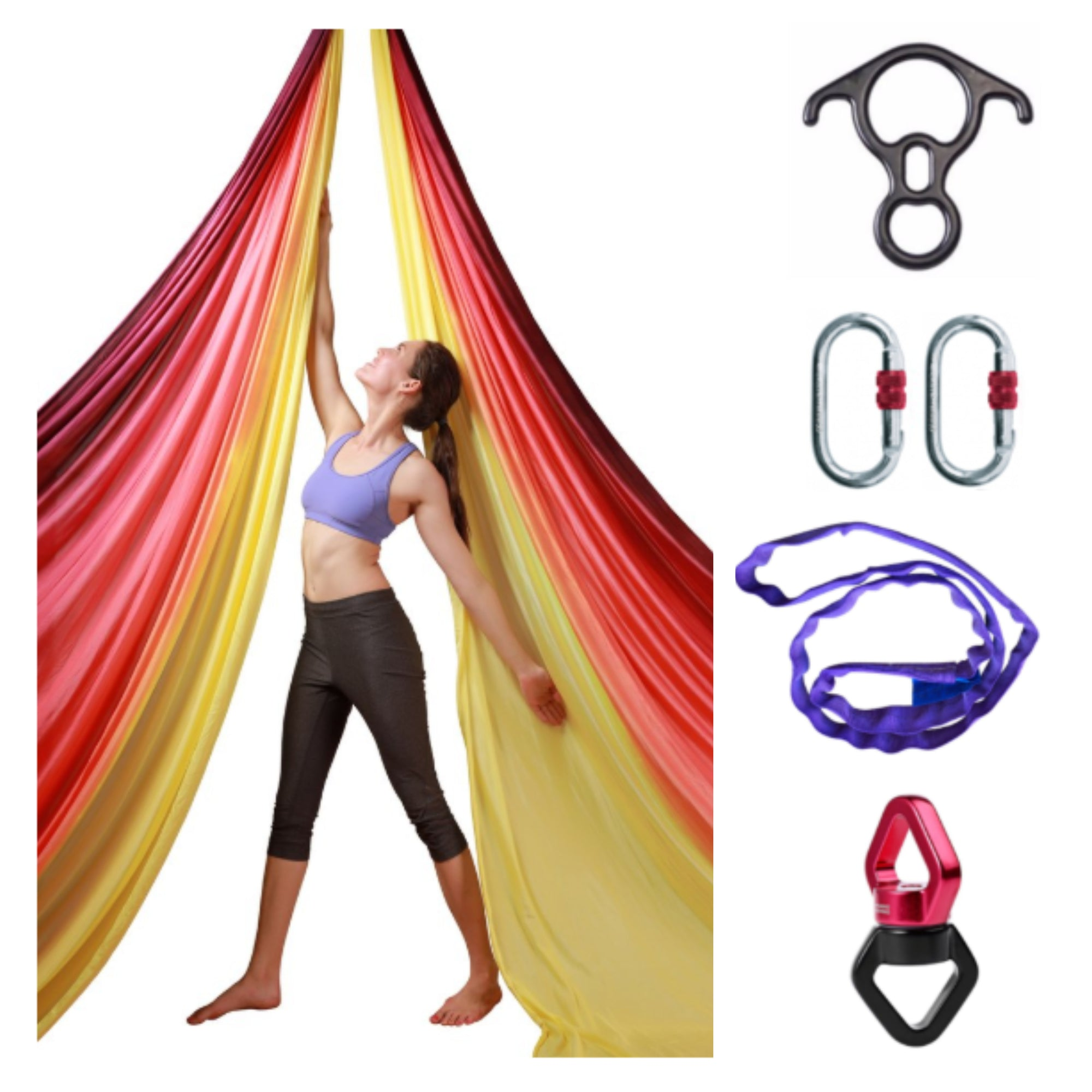 Sunset Ombre Aerial Silks Set with All Hardware - Uplift Active