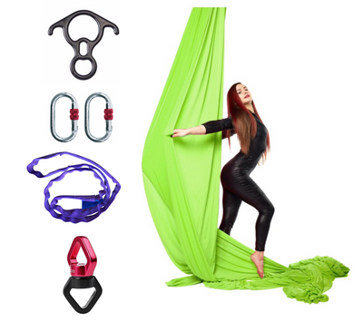 Green Aerial Silks Set with Hardware