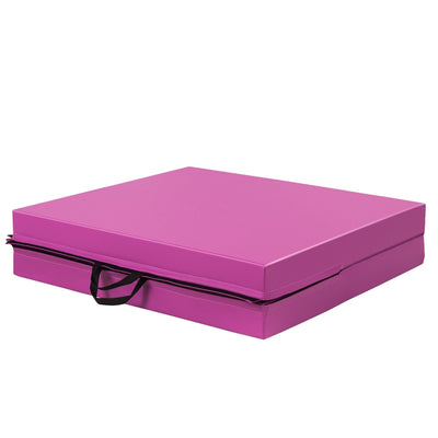 Pink Gymnastic Fitness Exercise Thick Mat with Two Folding Panel- Uplift Active