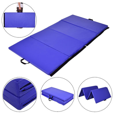 Blue Foldable Panel Fitness and Gymnastics Mat with Hand-Carry Belt - Uplift Active
