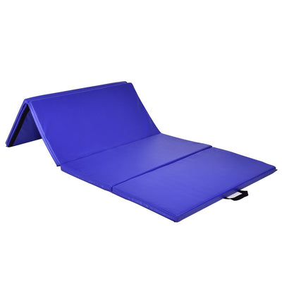 "4' x 8' x 2"" Blue Foldable Panel Fitness and Gymnastics Mat Sideview - Uplift Active"