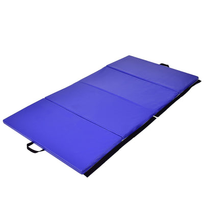 "4' x 8' x 2"" Blue Foldable Panel Fitness and Gymnastics Mat - Uplift Active"
