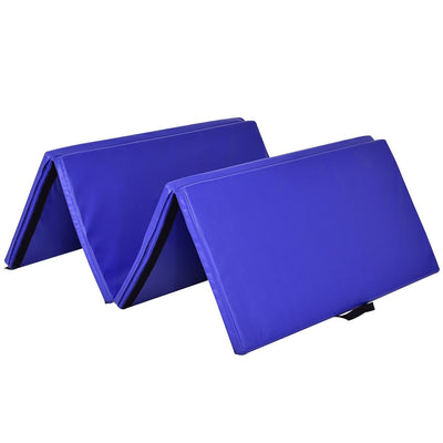 "Overview 4' x 8' x 2"" Blue Foldable Panel Fitness and Gymnastics Mat - Uplift Active"