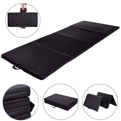 "4' x 8' x 2"" Black Foldable Panel Fitness and Gymnastics Mat with Hand-Carry Belt - Uplift Active"