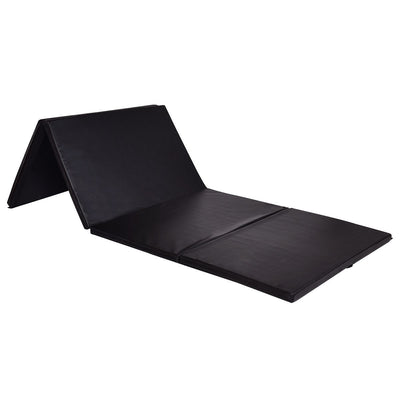 "4' x 8' x 2""Sideview Black Foldable Panel Fitness and Gymnastics Mat - Uplift Active"