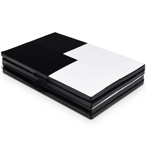 Black and White Thick Foldable and Portable Exercise Mat