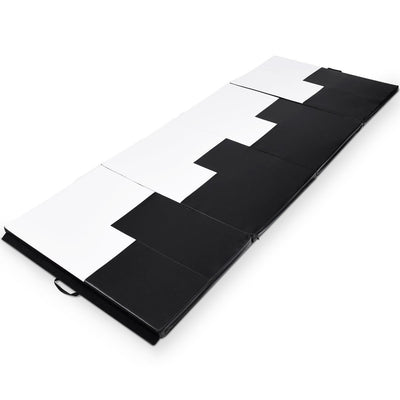 Black and White Thick Foldable and Portable Exercise Mat Overview Uplift Active