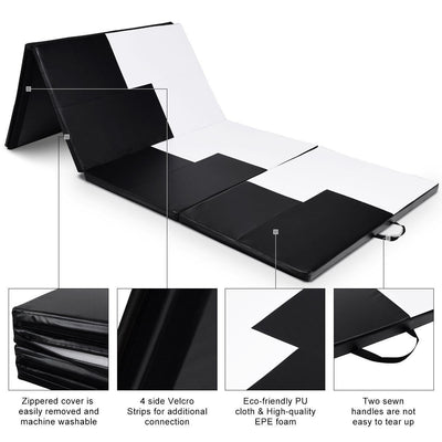 Detail of High Quality Black and White Thick Foldable and Portable Exercise Mat  Uplift Active