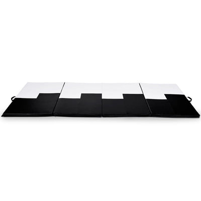 Black and White Thick Foldable and Portable Exercise Mat Sideview Uplift Active
