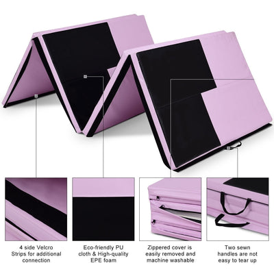 Features High Quality Black and Pink Thick Foldable and Portable Exercise Mat - Uplift Active