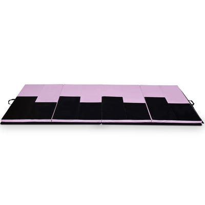 Sideview Black and Pink Thick Foldable and Portable Exercise Mat - Uplift Active