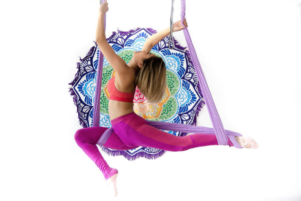 Girl on Purple yoga hammock