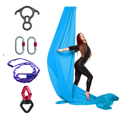 Lake Blue Aerial Silks Set with Hardware Uplift Active