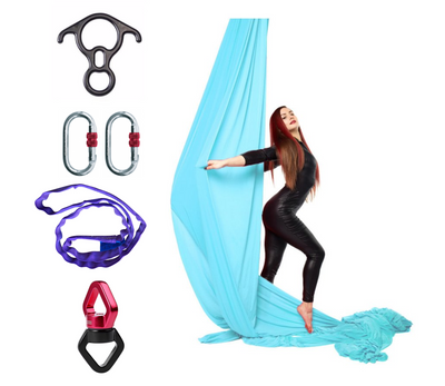 Light Blue Aerial Silks Set with Hardware Uplift Active