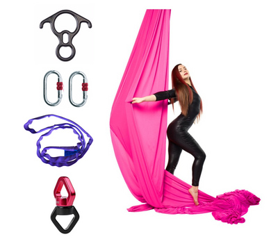 Pink Aerial Silks Set with Hardware Uplift Active