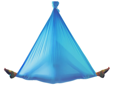 Woman on Blue Aerial Yoga Hammock - Aerial Yoga Gear Uplift Active