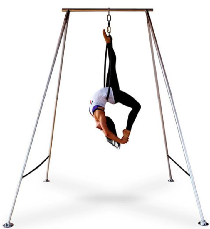 Woman Hanging on Aerial Yoga X-Pole A-Frame Swing Stand by Uplift Active